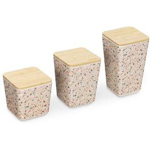 Navaris Wärmflasche, 3x Dose zur Aufbewahrung mit Deckel - Bambus Behälter für u.a. Wattestäbchen Wattepads - Aufbewahrungsbox Terrazzo Design