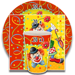 "Party-Set ""Clown"" (60-teilig: Servietten, Teller, Becher), tradingbay24 (tbK0027)"