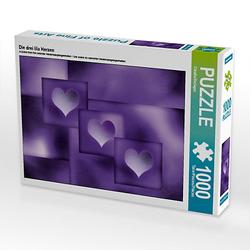 Die drei lila Herzen Lege-Größe 64 x 48 cm Foto-Puzzle Bild von Digital-Art Puzzle