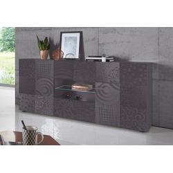 LC Sideboard Miro, Breite 181 cm mit dekorativem Siebdruck grau