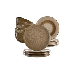 LEONARDO Geschirr-Set MATERA Geschirr Tafelservice beige 18-teilig (18-tlg), Keramik