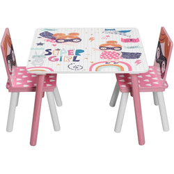 Woltu Kindersitzgruppe, Kindersitzgruppe Tisch-Set aus MDF rosa