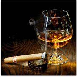 Artland Glasbild Zigarre und Cognac, Zigarren (1 Stück) 20 cm x 20 cm