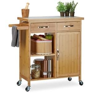 Relaxdays Küchenwagen Holz, Bambus, 4 Rollen, Arbeitsplatte aus Marmor, mit Schubladen, HBT: 85,5 x 89,5 x 36 cm, natur