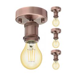 Vintage E27  Decken-Fassung RETRA, bronze, rund, 100mm inkl. E27 Lampe 480lm Gold Vintage extra-warm-weiß, 4 Stk.