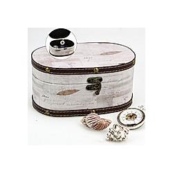 Schatzkiste oval klein, Motiv retro weiß