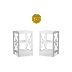 Flieks Beistelltisch (2-St), Sofa-Beistelltische Couchtisch weiß