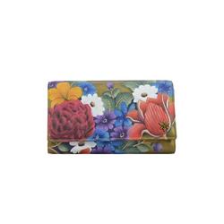 Brieftasche Dreamy Floral (handbemaltes Leder) ANUSCHKA bunt