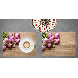 Platzset, Tischset I Platzset - Blumen - Rosa Rosen auf Holz - 12 Stück aus hochwertigem Papier in Aufbewahrungsmappe, perfekt für Frühlingsdekoration, Tischsetmacher, (12-St)