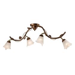Licht-Erlebnisse Deckenleuchte LOELLA Große Deckenlampe Metall Glas Shabby Braun floral antik Innen Lampe