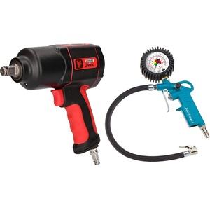 KS Tools 515.1200 THE DEVIL Hochleistungs-Druckluft-Schlagschrauber, 1/2 Zoll, max. Löse-Drehmoment 1600Nm & HAZET Reifenfüll-Messgerät (Manometer-Messbereich 0-12 bar, Schlauchlänge 400 mm, 63 mm)