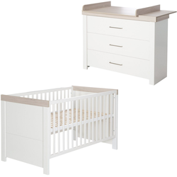 roba® Babymöbel-Set Lucy, (Spar-Set, 2-St), mit Kinderbett & Wickelkommode; Made in Europe weiß