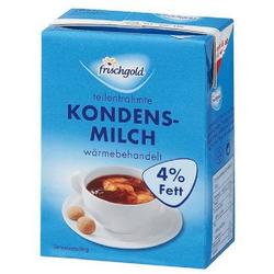 Frischgold Kondensmilch mit 4% Fett, Inhalt: 340 g. Mindesthaltbarkeit: ca. 6