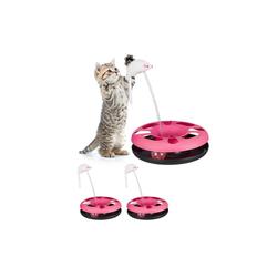 relaxdays Tier-Kugelbahn 3 x Katzenspielzeug mit Maus pink, Kunststoff