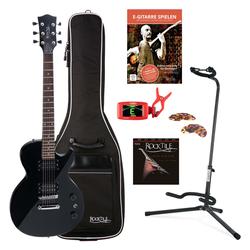 Rocktile L-100 BL E-Gitarre Schwarz SET inkl. Gigbag + Ständer + Saiten + Tuner + Plektren + Gitarrenschule mit CD/DVD