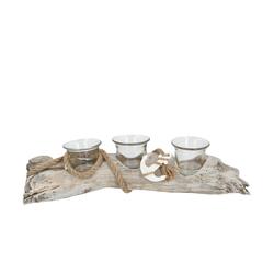 Basispreis* Teelichthalter  Treibholz ¦ holzfarben ¦ Glas , Holz ¦ Maße (cm): B: 35