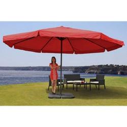 Sonnenschirm Carpi Pro, Gastronomie Marktschirm mit Volant Ø 5m Polyester/Alu 28kg ~ bordeaux mit Ständer