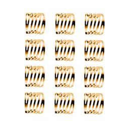 Masbekte Serviettenring, (12-tlg), 1 / 12 Serviettenringe Set, Esszimmer, Formal Dekoration, Metall, Tisch Serviettenhalter goldfarben