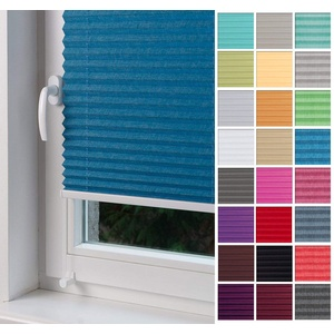 Home-Vision Premium Plissee nach Maß, ohne Bohren mit Klemmträger, für Fenster & Tür Sonnenschutzrollo Kollektion Melange (Blau, B61-70cm x H201-230cm)