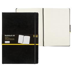 Idena Notizbuch Notizbuch DIN A4 - 192 karierte Seiten - Hardcover - schwarz
