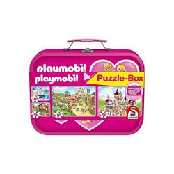 Schmidt Spiele Puzzle-Tasche Puzzlekoffer 2 x 60 + 2 x 100 Teile Playmobil,