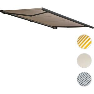 Elektronische Kassettenmarkise HWC-H27, Markise Vollkassette 6x3m ~ Polyester sand, Rahmen anthrazit