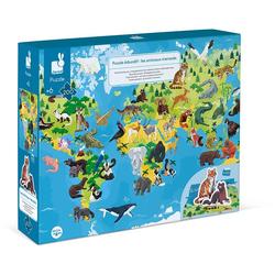 Janod Puzzle Gefährdete Tiere, 200 Puzzleteile, mit Figuren