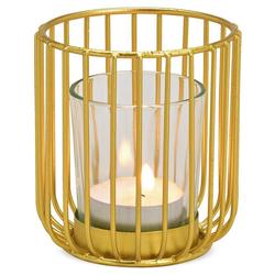 matches21 HOME & HOBBY Kerzenhalter Windlicht Metall & Glaseinsatz Deko Gold 1 Stk Ø 8x9 cm goldfarben 8 cm
