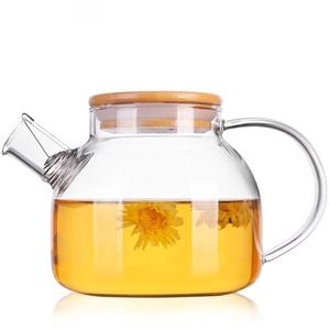 TAMUME 1000ML Glas-Teekanne mit Bambus Deckel und Edelstahl-Filter-Spule Glas Wasser-Krug Ideal für Obst-Tee-Container und blühende Teekanne