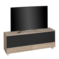 TV Board mit Akustikstoff Sonoma Eiche und Schwarz
