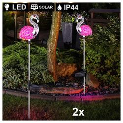 etc-shop LED Dekolicht, 2er Set LED Solar Garten Steck Leuchten Flamingos Pink Kristall Lampen Hof Beleuchtung Tier Figuren
