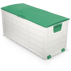 230 L Kissenbox grau - grün Gartentruhe aus Kunststoff Auflagenbox Auflagentruhe