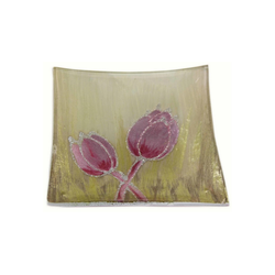 HTI-Living Dekoteller Dekoteller Tulpe Rosa (1 Stück) goldfarben
