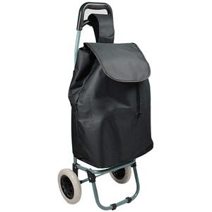 Helo Einkaufstrolley klappbar mit 30 Liter Volumen (nur 1,5 kg leicht), Einkaufsroller mit Abnehmbarer Tasche, stabilem Trolley Metallgestell und ergonomischem Griff - Schwarz