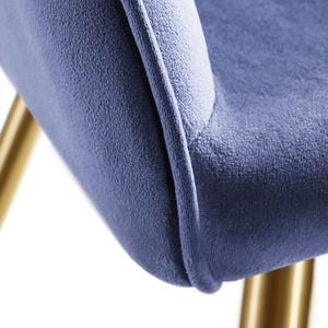 6er Set Stuhl Marilyn Samtoptik, goldene Stuhlbeine - blau/gold