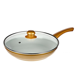 Genius Kochtopf Genius - Cerafit Gold Pfanne Ø24 + Glasdeckel Keramik-Pfanne Bratpfanne