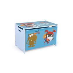Homestyle4u Spielzeugtruhe, Spielzeugkiste Kinder Spielkiste blau 60 cm x 38 cm x 35 cm