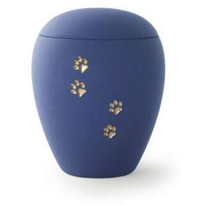 Tierurne Siena | einfarbig | mit goldenem Pfötchen | Urne mit Samtoberfläche