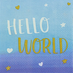 "Servietten ""Hello World"" in Blau"