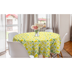 Abakuhaus Tischdecke Kreis Tischdecke Abdeckung für Esszimmer Küche Dekoration, Zitrone Cartoon Zitronen Zigzags
