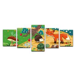 Bilderdepot24 Leinwandbild, Leinwandbild - Kinderbild - Tiere im Wald 200 cm x 80 cm