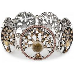 styleBREAKER Armreif Armband mit Lebensbaum Amuletten mit Perlen & Strass, Armband mit Lebensbaum Amuletten mit Perlen & Strass braun