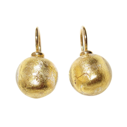 Mugello Paar Ohrhänger Murano gold klassisch und festlich Basic-Ohrringe, handgearbeitetes Muranoglas aus Italien