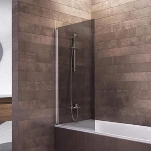 Schulte Duschwand Berlin, 70 x 130 cm, 5 mm Sicherheitsglas grau anthrazit, alunatur, D16503 01 52, Duschabtrennung für Badewanne