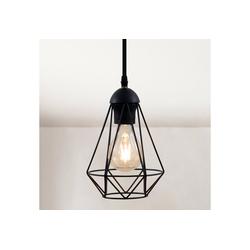 B.K.Licht LED Pendelleuchte, Retro mit Drahtlampenschirm E27