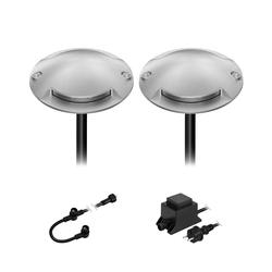 LED Boden-Aufbau-Leuchte Bunda 2-Beam für außen, befahrbar, kalt-weiß, 2er Set