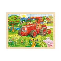 goki Puzzle Holzpuzzle 96 Teile Traktor, Puzzleteile