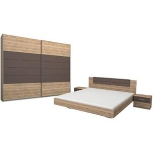 Rauch Möbel Barcelona Schlafzimmer, Eiche Sanremo hell / Lavagrau, bestehend aus Bett mit Liegefläche 180x200 cm inklusive 2 Nachttische und Schwebetürenschrank BxHxT 226x210x62 cm