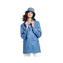 Regenjacke in Lackoptik, Damen, Größe: M Normal, Blau, Polyester, by Lands' End, Persisch Blau - M - Persisch Blau