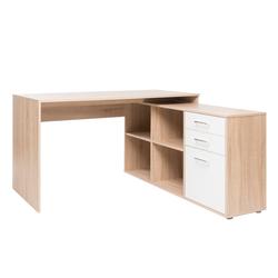 expendio Schreibtisch Wales, Eiche Sonoma 136x75x139 cm mit flexibler Winkelkombination und integriertem Regal